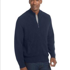 L.L. Bean navy blue zip front cardigan